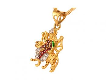 Gold Embossed Lakshmi Pendant With CZ