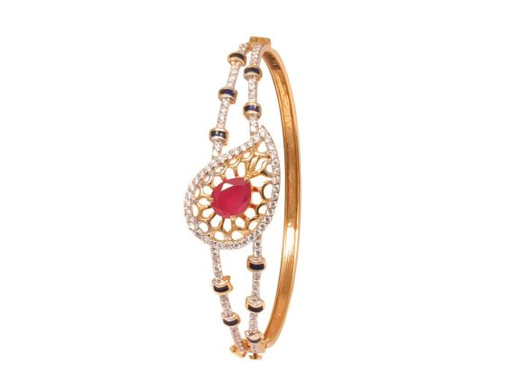 18 k Filigree Studded CZ Kada