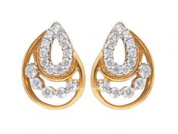 Pear Drop Design Prong Set Diamond Earrings