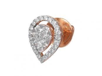 Pear Design Pressure Set Rose Gold Diamond Earrings