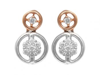 Duel Round Design Rhodium Diamond Earrings