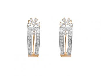 Prong Set Diamond Hald Bali Earrings