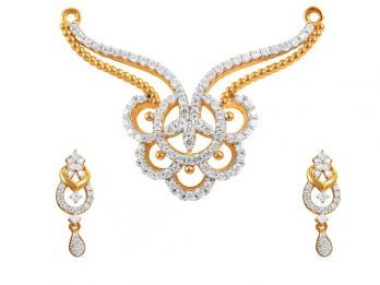 Gold Embossed Floral Design Drop Pear Pendant Set