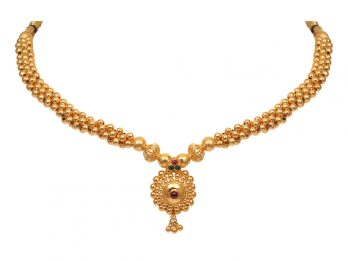 Gold Bead Design With Floral Pendant Thushi