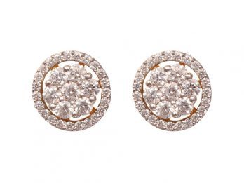 Round Design Prong Set Diamond Earrings
