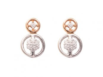 Duel Round Design Rose Gold Rhodium Diamond Earrings