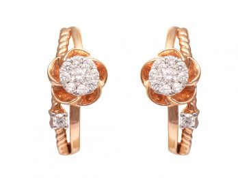 Floral Design Pressure Set Rose Gold Diamond Earrings
