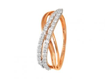 Double Line Crisscross Design Rose Gold Diamond Ring