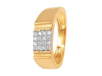 Square Design Prong set Diamond Mens Ring