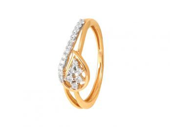 Leafy Design Prong Set Diamond Ring
