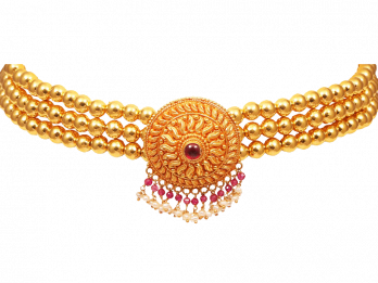 Gold Beads With Center Drop Colour Stone Floral Pendant thushi