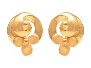 Floral Design Gold Embossed Earrings