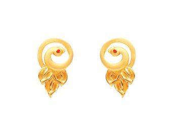 Peacock Design Gold Top Earrings