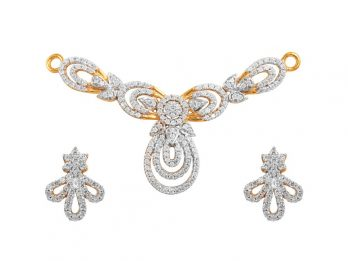 Drop Pear Design CZ Pendant Set