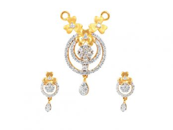 Floral And Chand Bali Design CZ Pendant Se