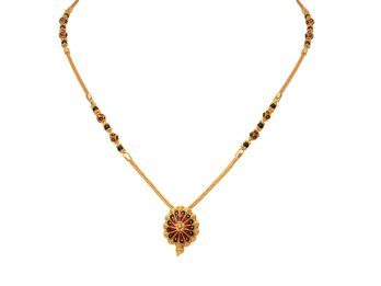 Floral Design Pendant With Meena Gold Mangal Sutra