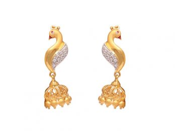 Peacock Design Jhumka Earrings With CZ