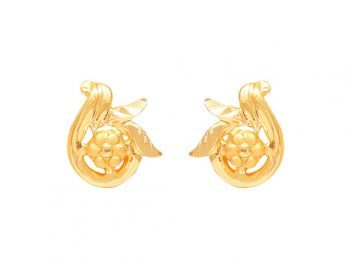 Gold Embossed Floral Design Earrings