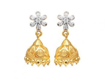 Floral Design Gold Embossed Jhumka Earrings With CZ