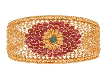 Gold Embossed Filigree Ruby And Emerald Kada
