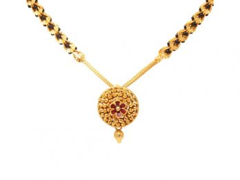 Clip Link Gold Mangal Sutra With Center Floral Pendant