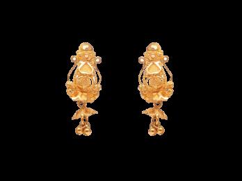 Glossy Finish Diamond Cut Embossed Drop Earrings