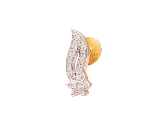 Wave Design Gold CZ Earrings
