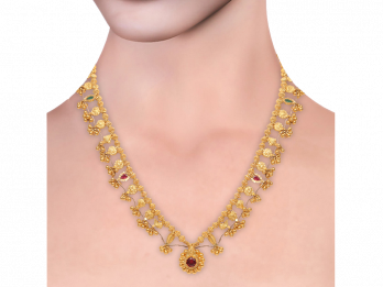 Gold Embossed Filigree Saaz Necklace